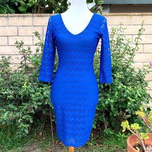 Arden B Blue Chevron Mini Knit Bodycon Dress